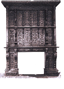 The carved oak screen